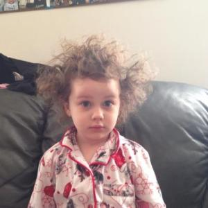 Little girl with wild hair