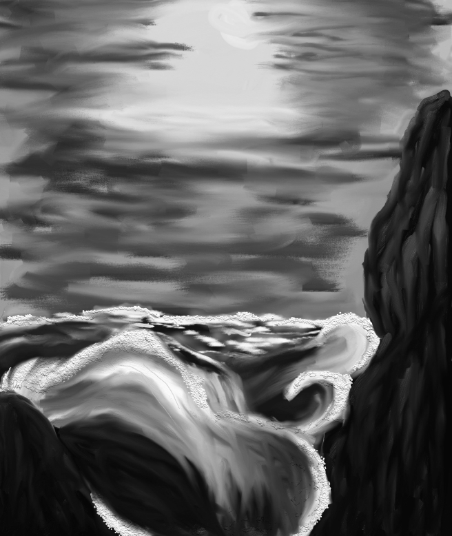 Black and white picture of the sea